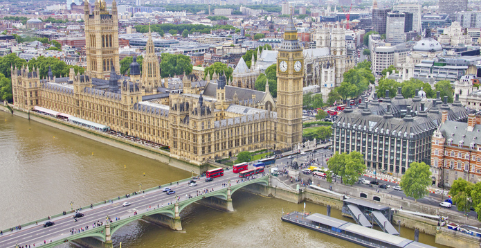 Aerial View of London Houses of Parliament
