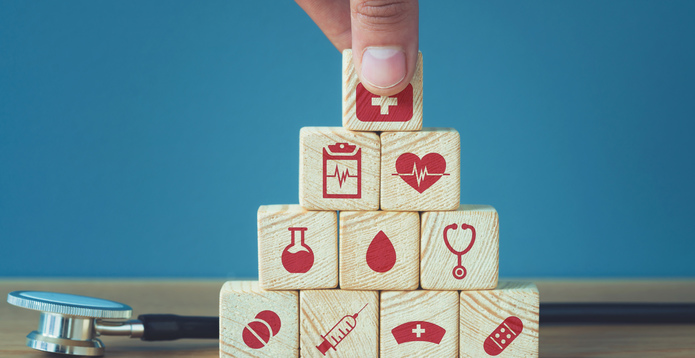 Building blocks healthcare symbols