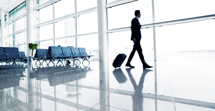 Businessman in empty airport