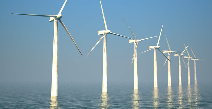 Offshore wind farm turbines on the ocean