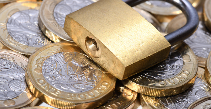 Padlock and coins fraud corporate crime - 695