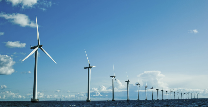 Row of offshore wind turbines