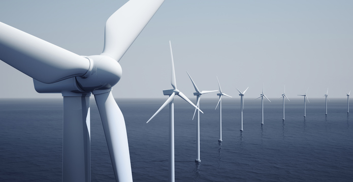 Wind turbines on the ocean -695